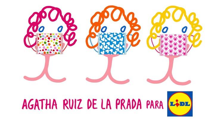 Cobranding de Lidl y Agatha Ruiz de la Prada para la elaboración de mascarillas. Fuente: Agenda Menuda
